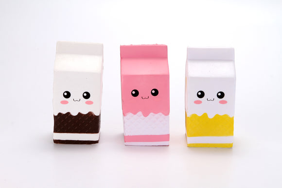 5'' SQUISHY-MILK CARTON assorted colors 6pcs/pk