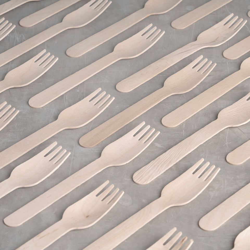 Strong, sustainable, and disposable birchwood fork