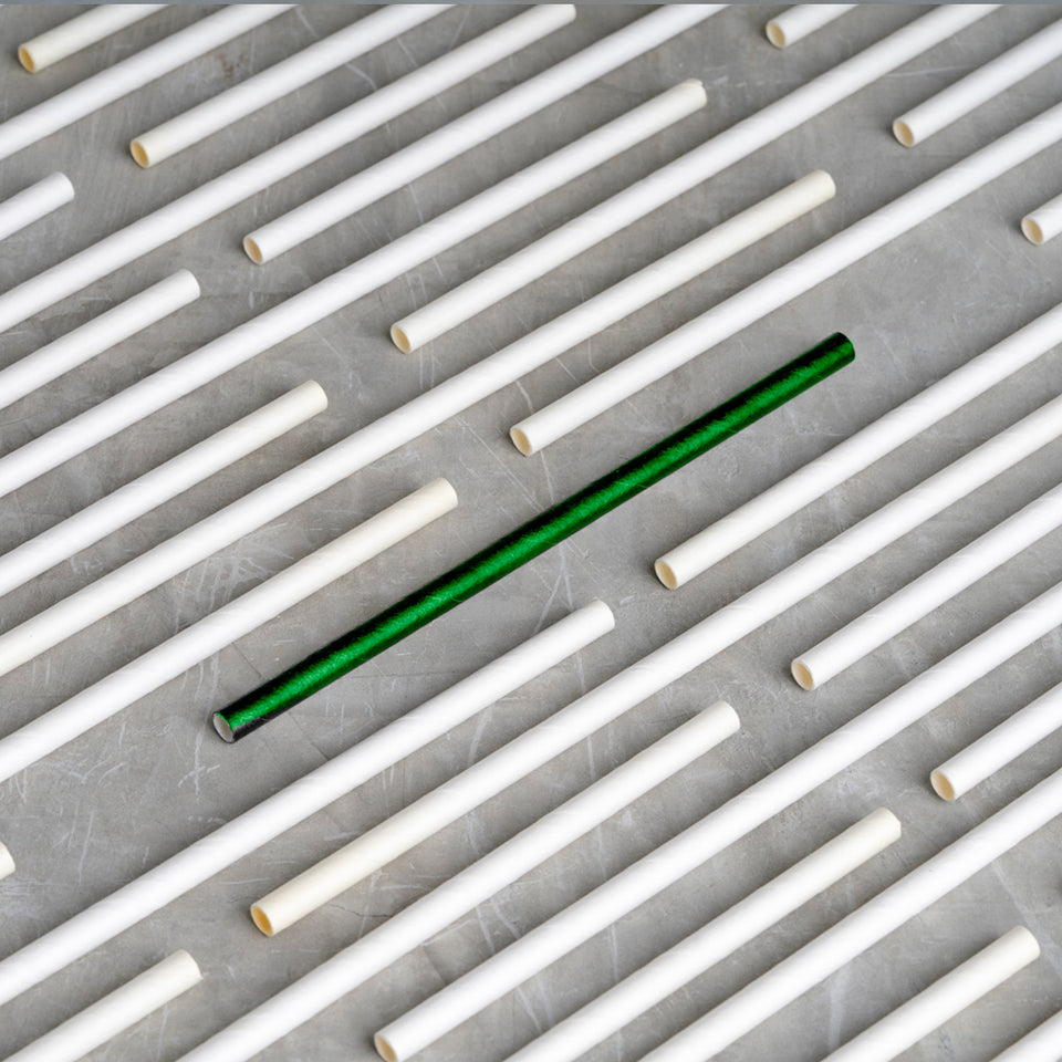 "Cocktail Paper Straw - 5.75"" - Green"