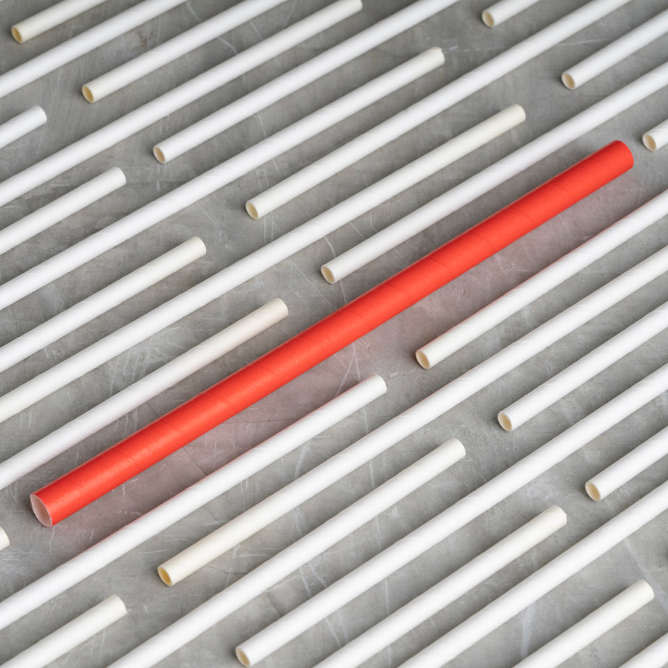 "Smoothie Paper Straw - 8.5"" - Red"