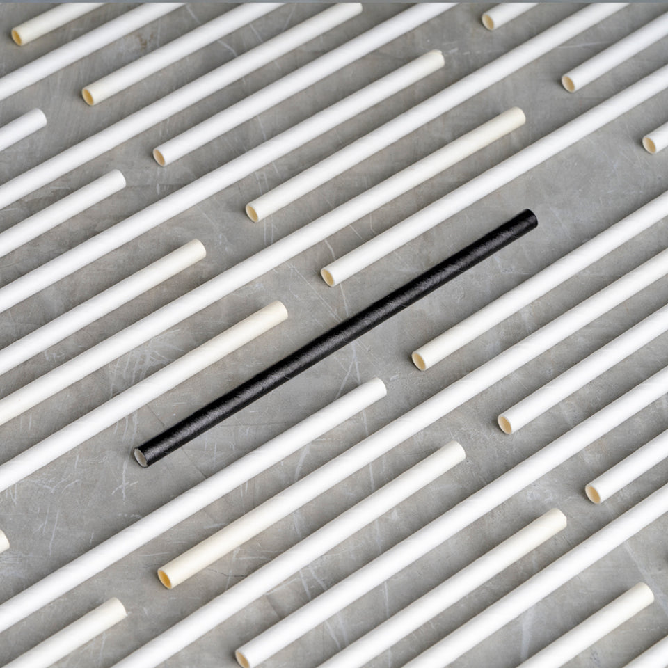 "Cocktail Paper Straw - 5.75"" - Black"