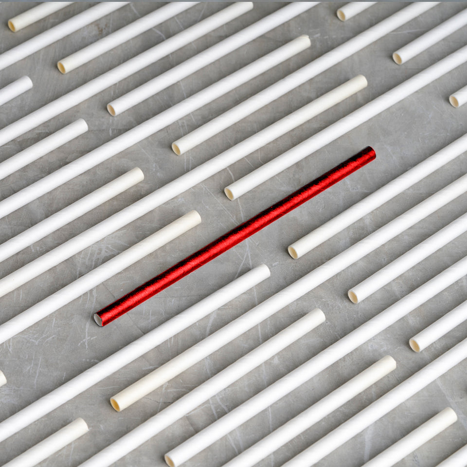 "Classic Paper Straw - 7.75"" - Red"