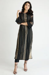 Black laser cut tunic (one piece)