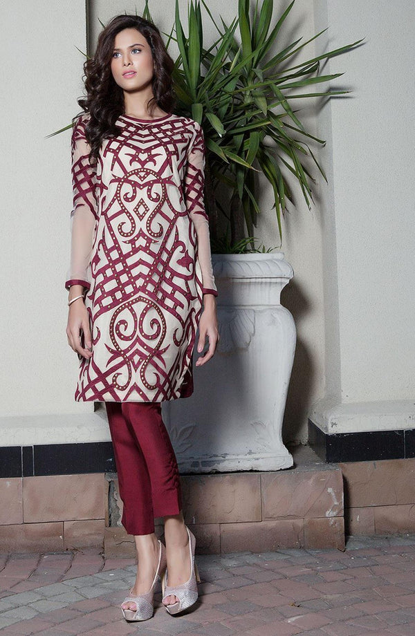 Burgundy Dress with Silk applique (two-piece set)