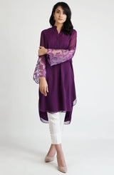 Violet tunic with hand crafted applique sleeves (one piece)