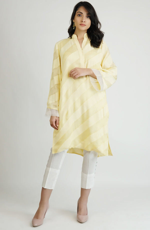 Yellow tunic in dual textured cotton (one piece)