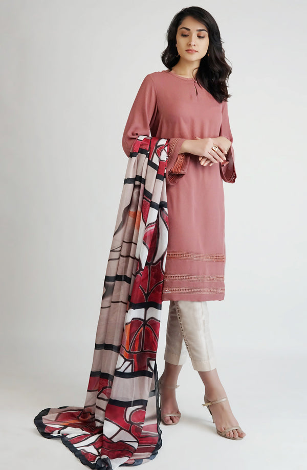 Pink kameez with sheer detailing (one piece)
