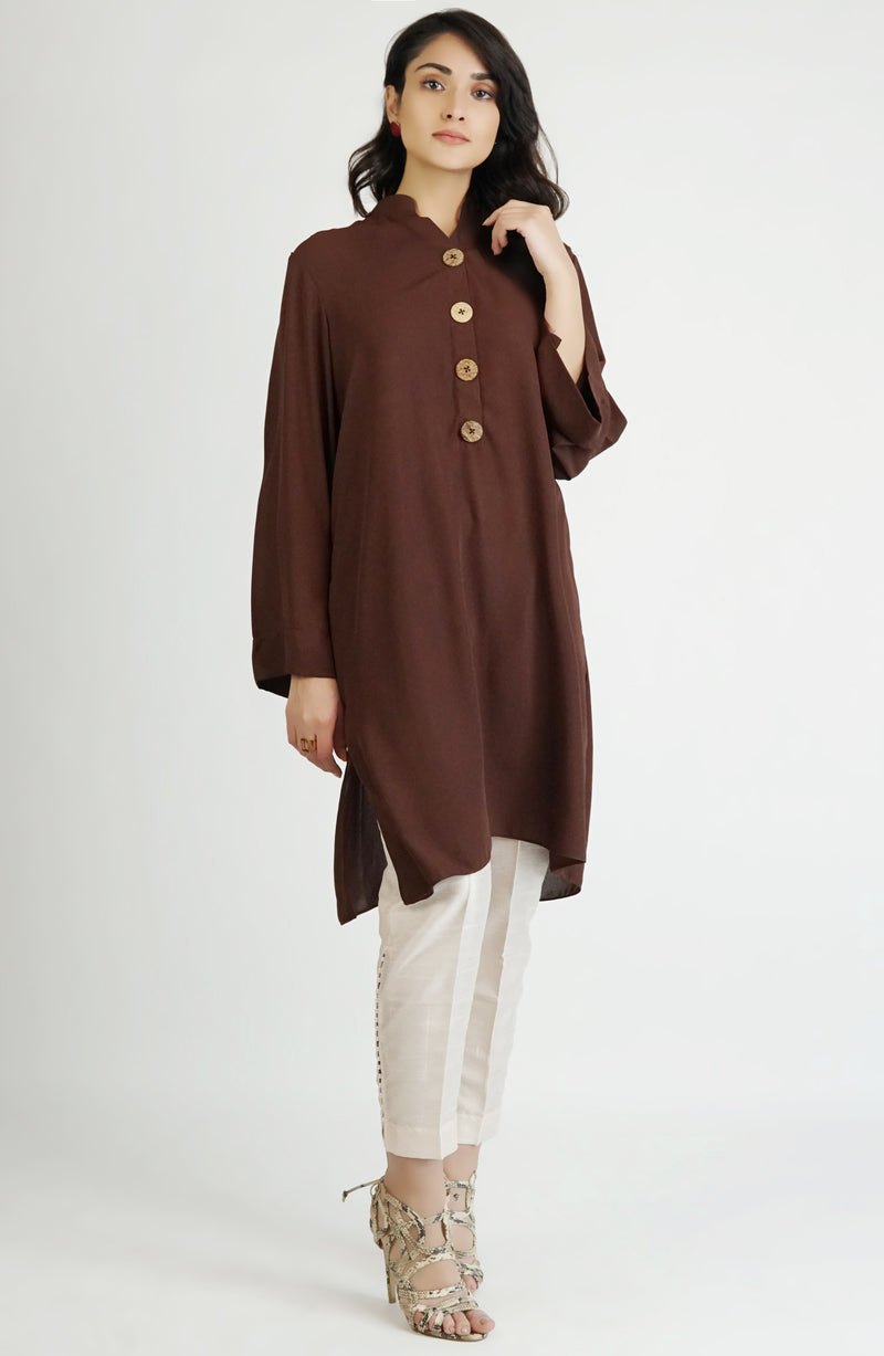 Brown Kurta with wooden buttons (one piece)