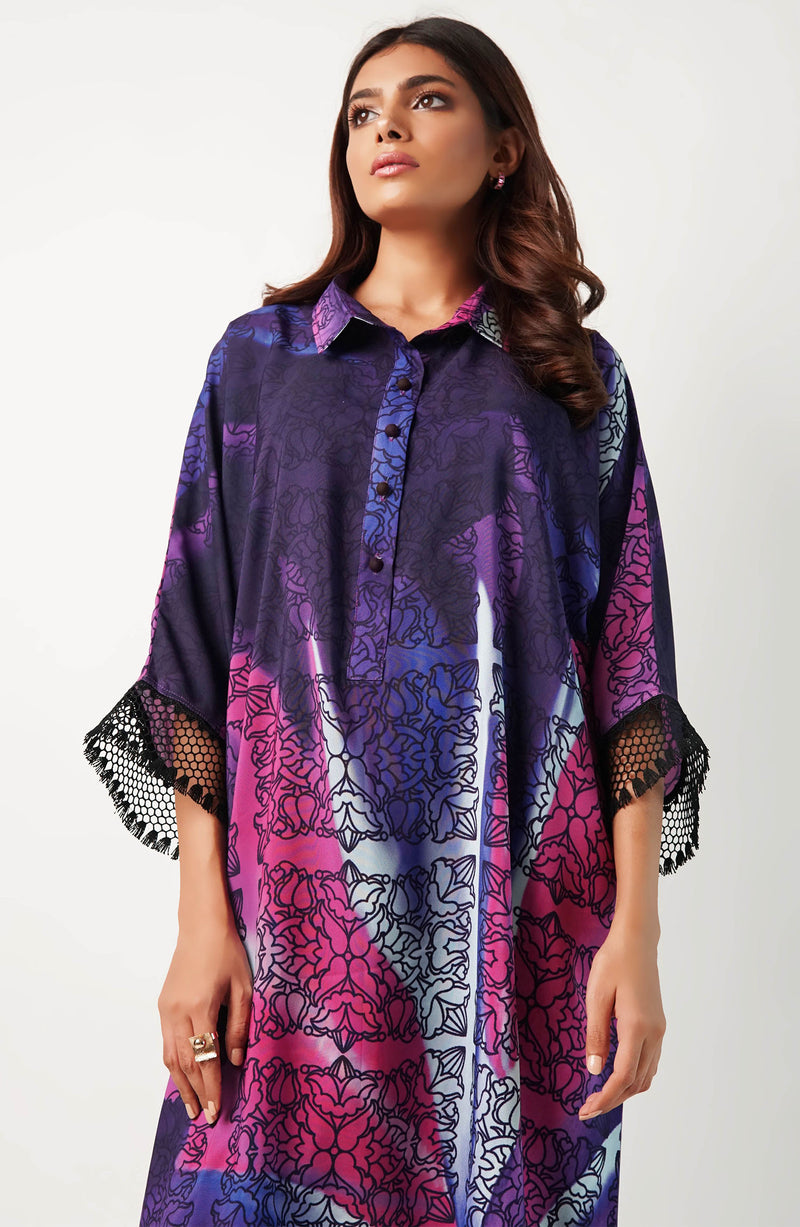 Multi Coloured purple hued printed tunic (one piece)