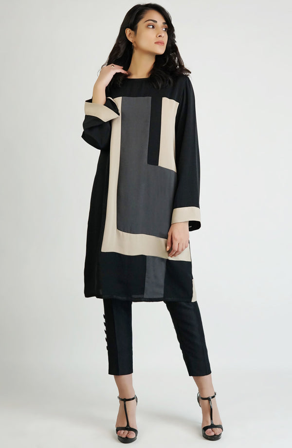 Tunic - black, beige & grey color block (one piece)