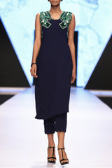 NAVY BLUE KURTA IN LONG LENGTH WITH HAND EMBROIDERED MULTI HUED CRYSTAL NECKLINE AND CIGARETTE PANTS