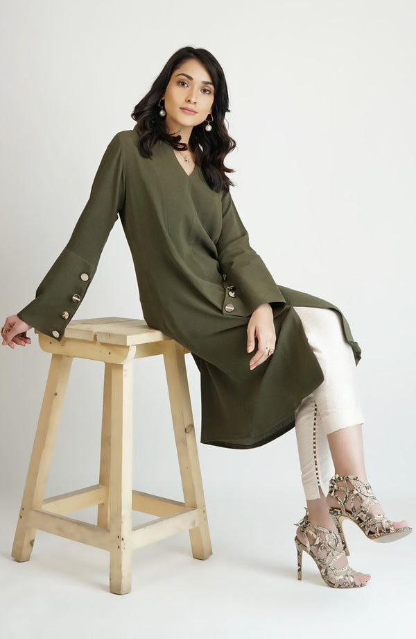 Olive green kurta with metallic buttons (one piece)