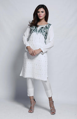 White Dress - embroidered. (two piece set)