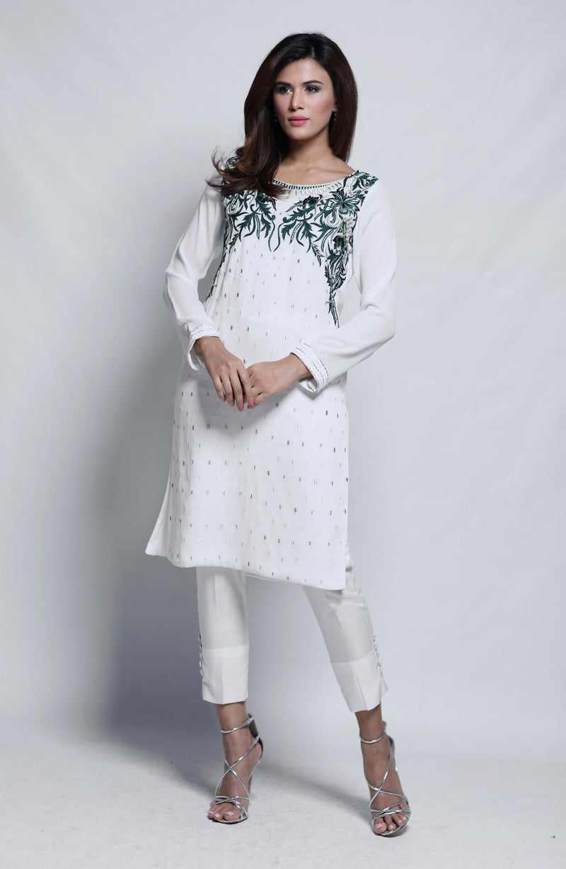 SHADED GREY Kurta WITH HAND EMBROIDERED CRYSTALS NECKLINE AND RAW SILK CIGARETTE PANTS