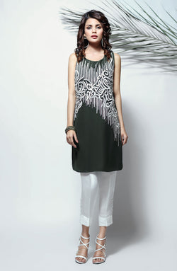 MOSS GREEN  KURTA WITH WHITE EMBROIDERY AND PEARL DETAILS