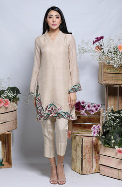 BEIGE TAN KURTA WITH BAND COLLAR IN SILK  WITH SCALLOPED CUTWORKED MULTI COLOURED FLORAL EMBROIDERY DAMAN AND CIGARETTE PANTS