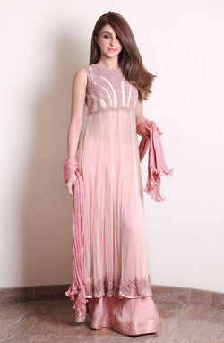 Pink Long Tunic- pearl embellished  (three piece set))