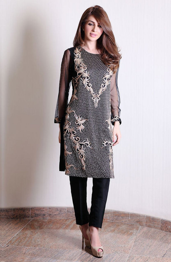 Black embellished tunic (two-piece set)