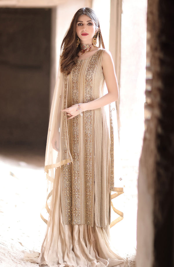 Gold Top & Silk Lehenga (three piece set).