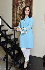 Turquoise Blue Tunic with Needlepoint Embroidered Sleeves.