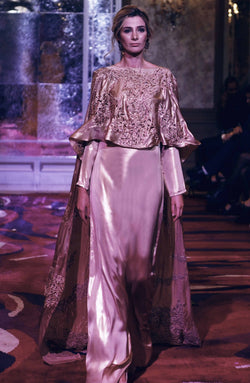 Floor length Cape-with crystals & pearls.