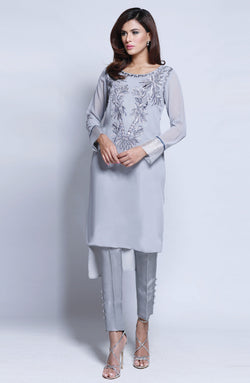 GREY Kurta WITH SHADED EMBROIDERY AND MIRROR WORK ON NECKLINE AND RAW SILK CIGARETTE PANTS