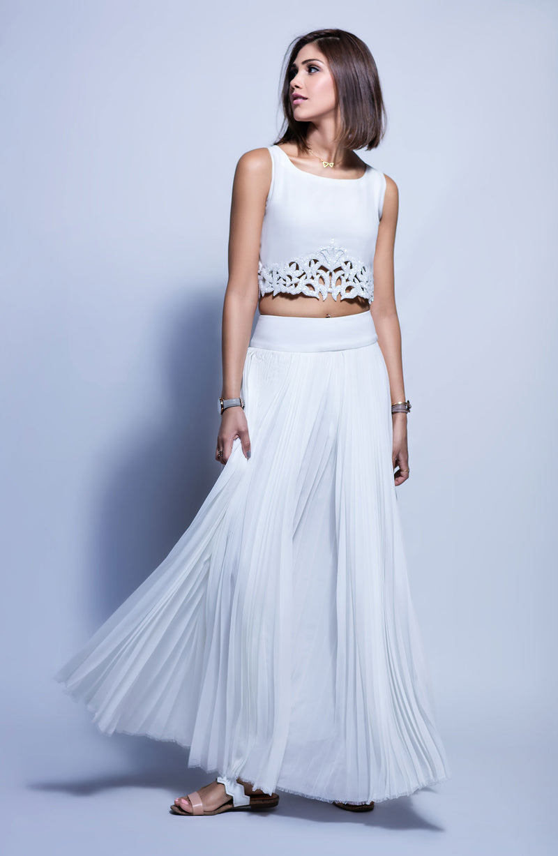 WHITE CROP TOP WITH HAND WORKED BEADWORK CUTWORK AND WHITE FLARED PLEATED SKIRT