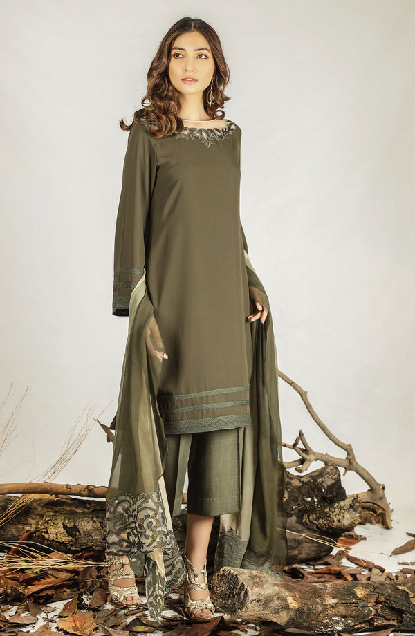Moss green Dress & dupatta (three piece set)