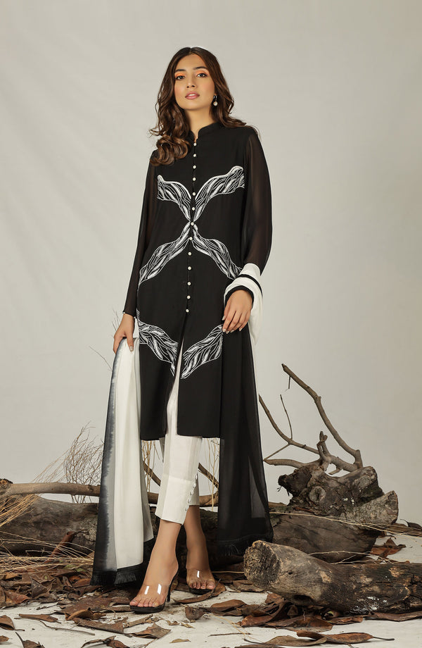 Black tunic with white embroidery (tunic only)