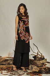 Black dress with multi floral embroidery (shirt & slip)