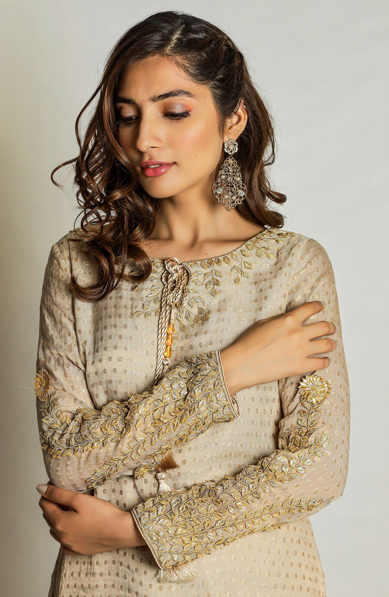 Party Dress- Eid wear-featuring gold gota petals