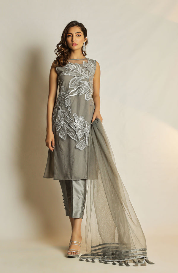 Grey tunic with silver floral embroidery (two piece set)