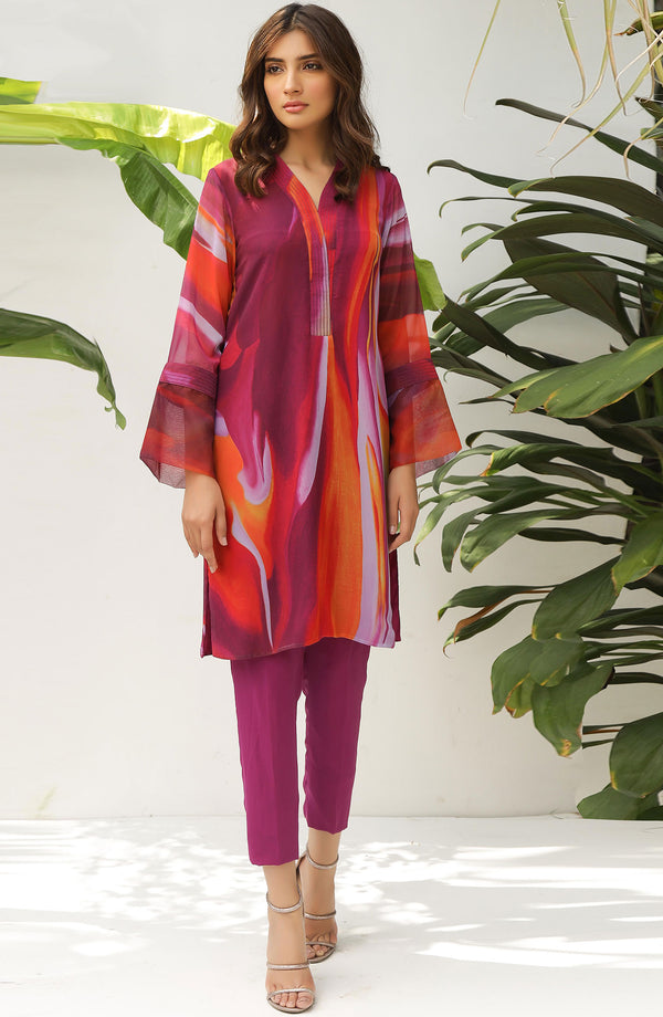 Magenta & Orange Printed Tunic (tunic only)