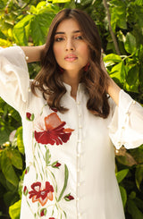 White front open tunic with needlework (tunic only)