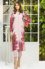 Rose coloured Floral Printed Tunic (tunic only)
