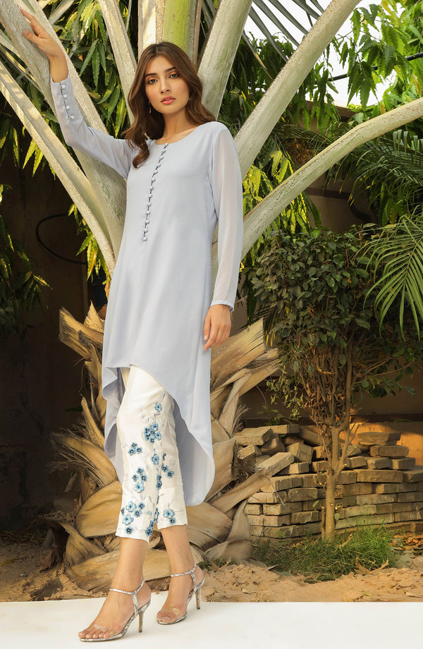 Powder Blue Solid tunic featuring U-shaped hemline and 3D embroidered trousers (two piece set