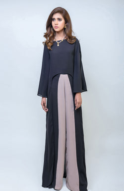 Black & Taupe Tunic- Loose fit- U-shaped hemline.