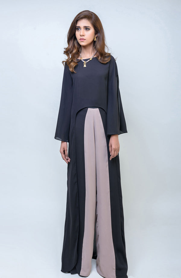 BLACK Kurta CUT TO A HIGH AND LOW LENGTH PAIRED WITH COLOUR BLOCKED PANTS