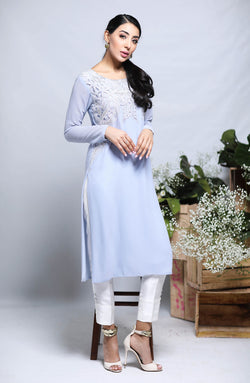 LILAC LONG Kurta  IN LONG LENGTH  WITH EMBROIDERED CUTWORK ON NECKLINE