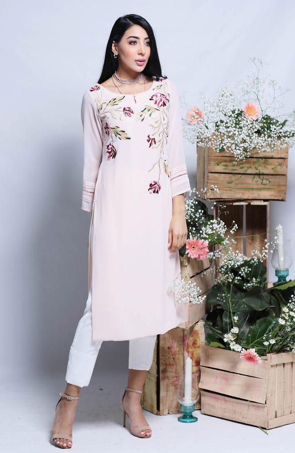 Rose pink floral midi length tunic