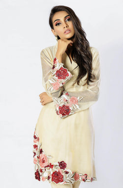 Beige Canvas Tunic with floral embroidery (two piece set)