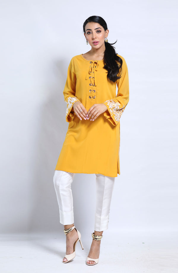 Yellow Tunic-riveitted neckline.