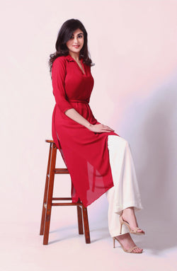 Red Hue Tunic with a Midi Tie Knot