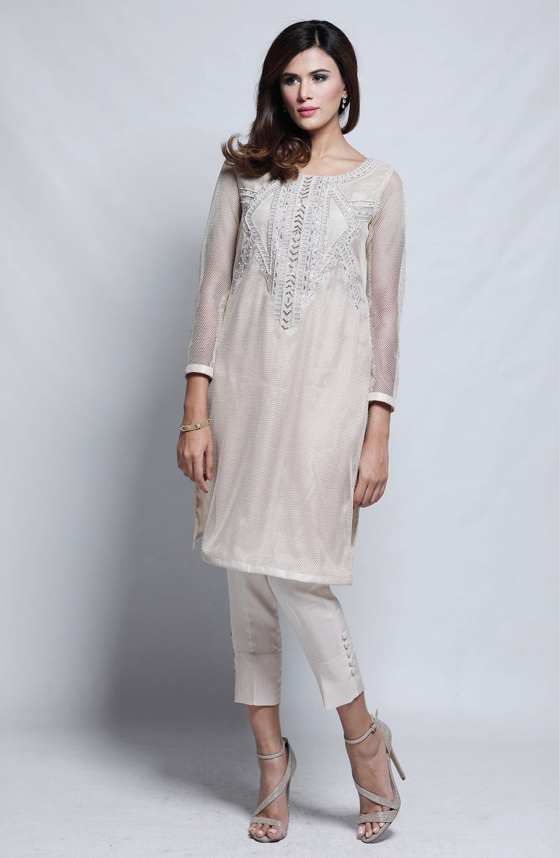 OFF WHITE IVORY  Kurta  WITH HAND EMBROIDERED BEADWORK  ON MESH NET WITH SILK CIGARETTE PANTS
