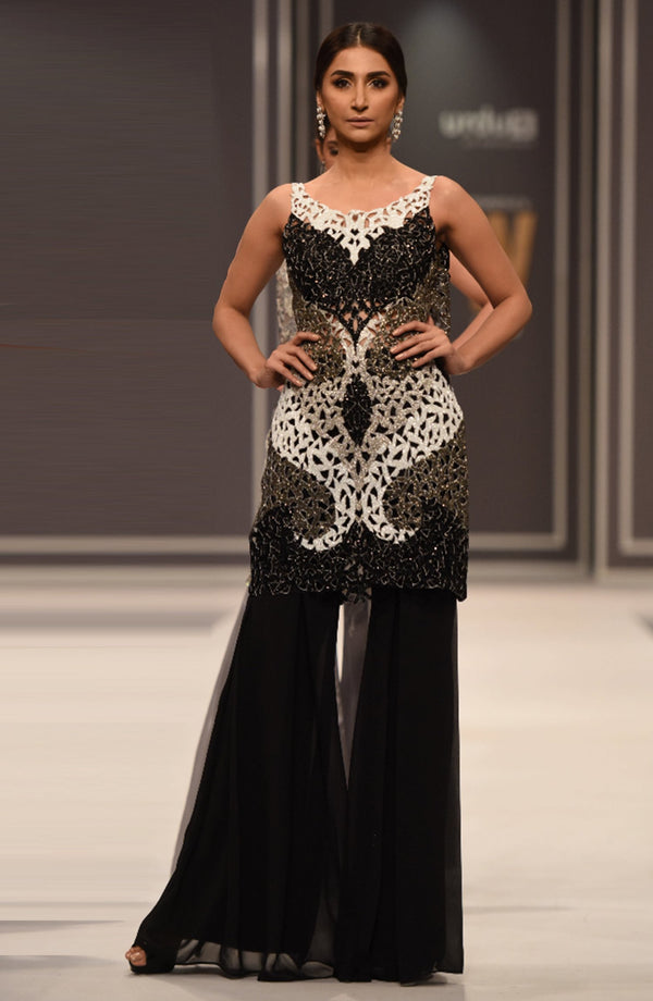 Black Dress with beaded cut work top (three piece set)