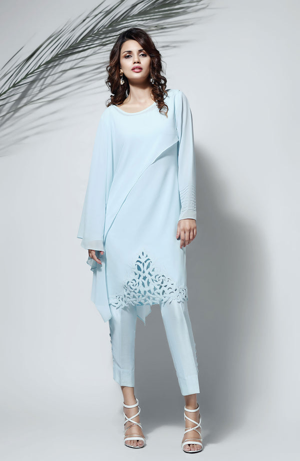 SKY BLUE Kurta WITH FULL SLEEVES AND LAYERED DRAPE CUT WITH HAND MADE CUTWORK DAMAN WITH CIGARETTE PANTS