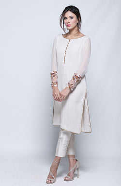LIGHT BEIGE KURTA ON ZARI CHIFFON WITH HAND EMBROIDERED MULTI HUED CRYSTAL SLEEVES AND CIGARETTE PANTS