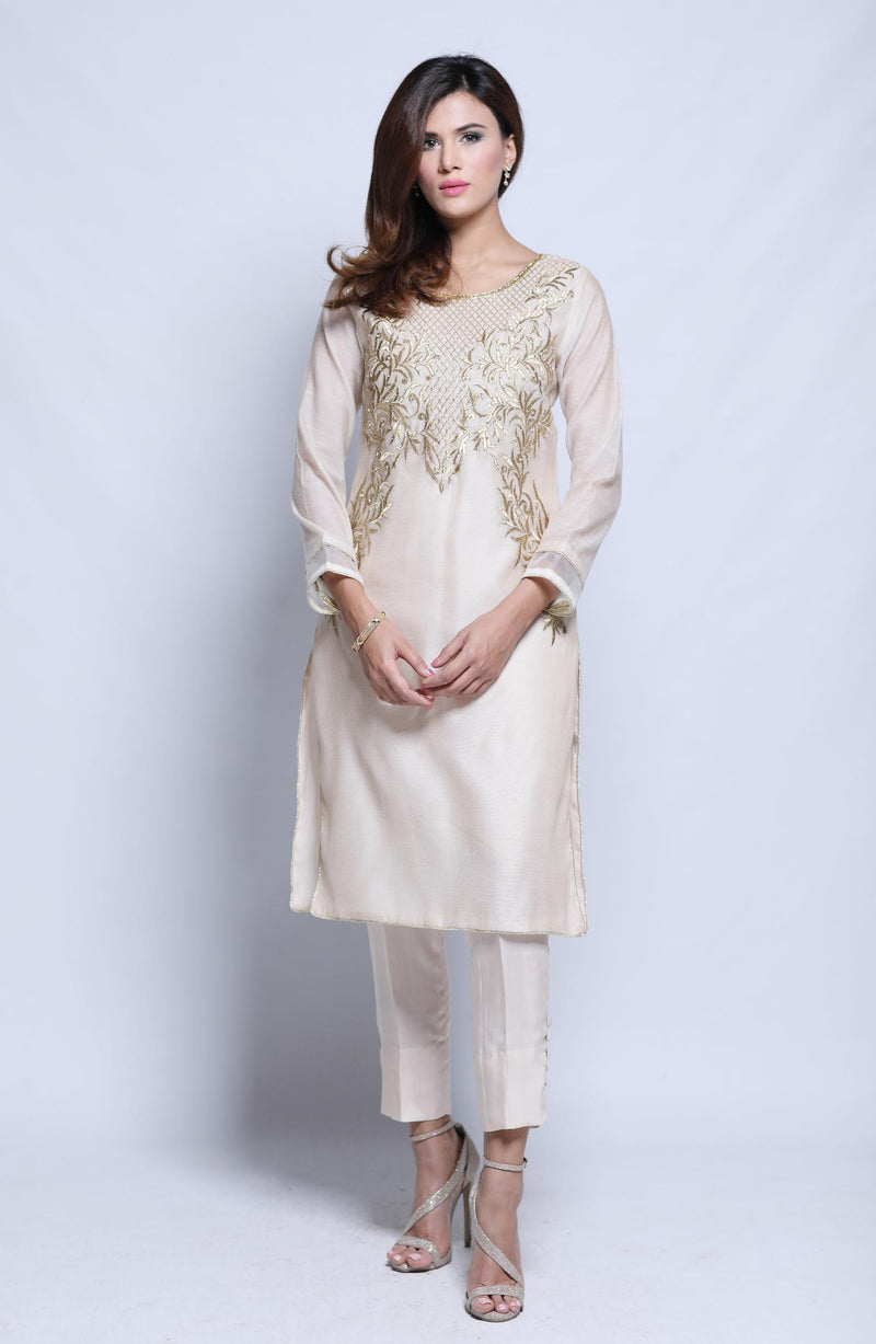 LIGHT BEIGE Kurta IN COTTON NET  WITH SEQUINS AND EMBROIDERY ON NECKLINE AND CIGARETTE PANTS