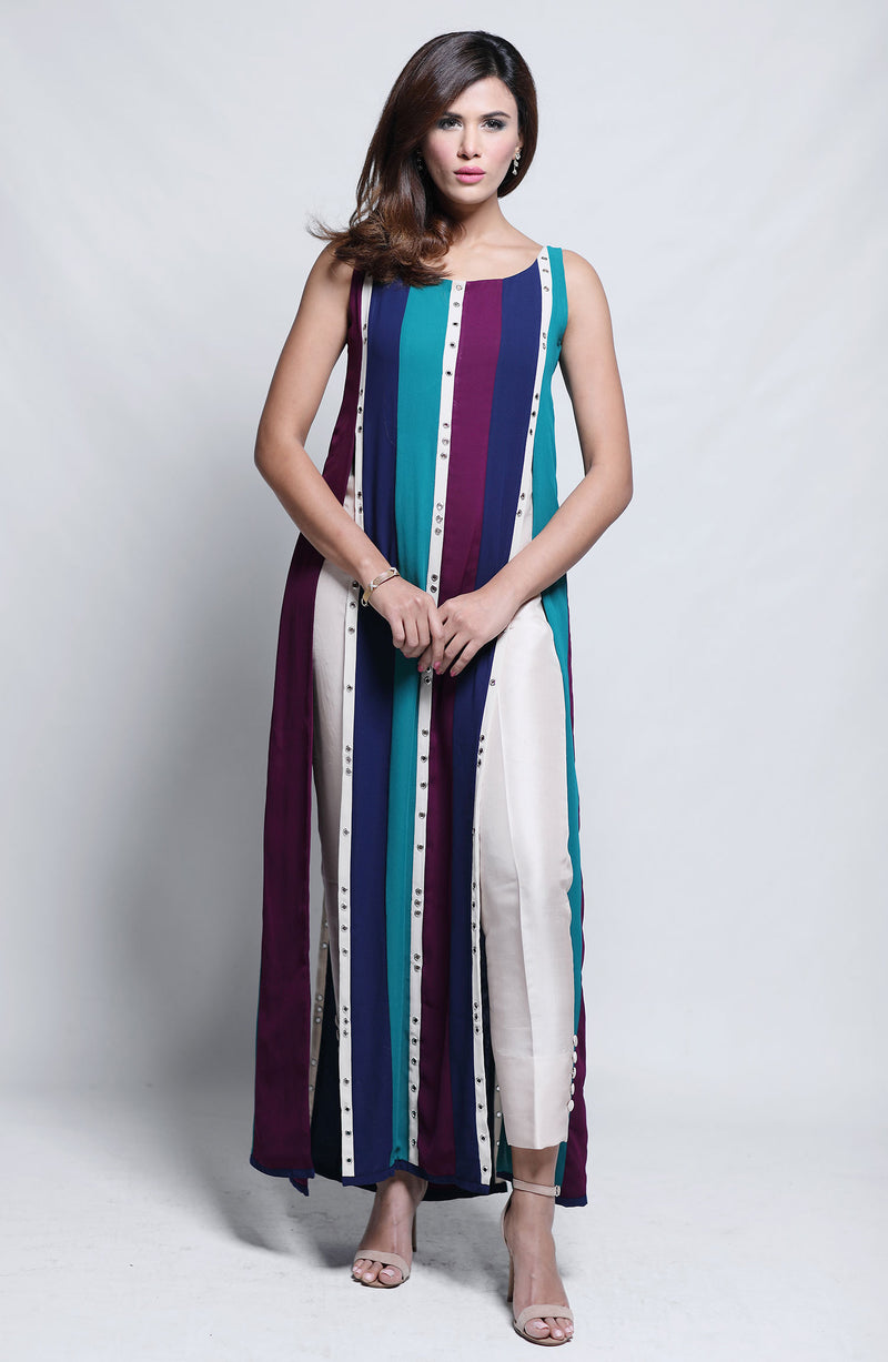 Multi Color-striped midi length tunic.