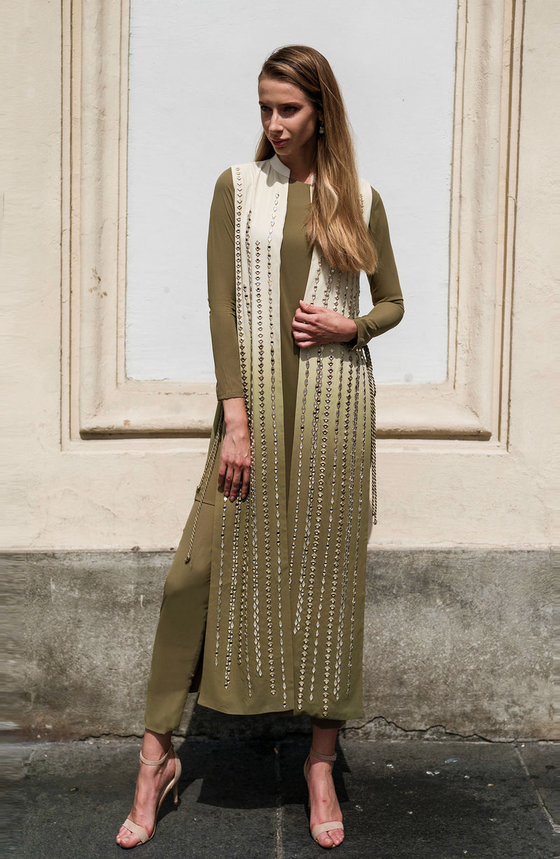 SHADED JACKET IN NUDE AND OLIVE GREEN WITH MIRROR WORK AND EYELET TASSEL TIE ON THE SIDE PAIRED WITH OLIVE MATCHING SEPARATES SLIP AND TROUSER